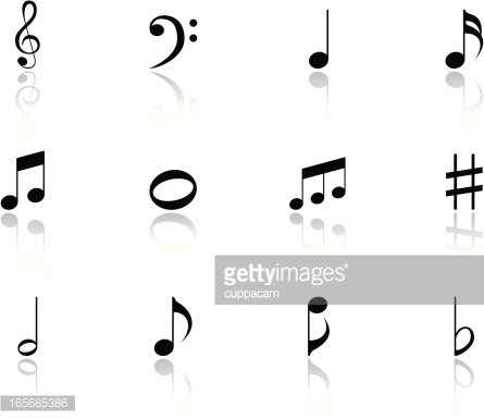 Black Music Notes Icon Symbols With Reflection Premium Clipart