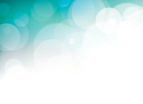 Horizontal Cyan Light Bokeh Background With Empty White