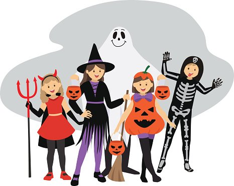 Cute Halloween Kids In Trick Or Treat Costumes Stock Vector - Illustration  of kids, costumes: 26615841