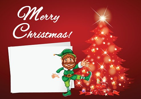 Christmas card with elf and red tree