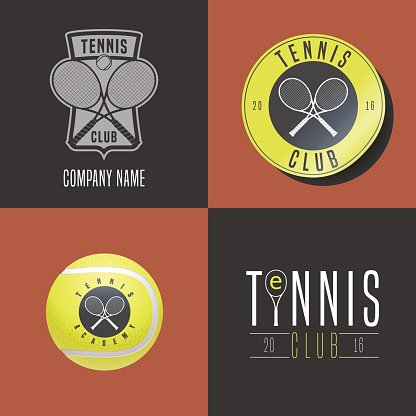 Tennis, sport set of vector icon, symbol, emblem