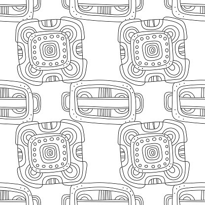 Black and white decorative seamless pattern for coloring book.