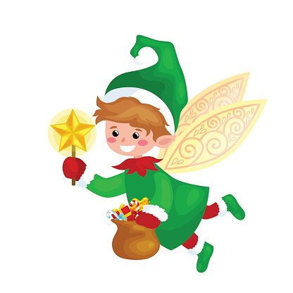 Flying Christmas elf isolated with wings and magic wand star
