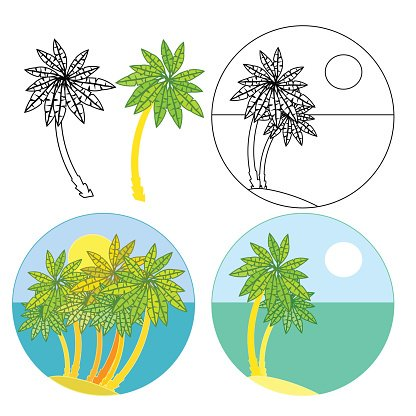 set of palm trees icon coloring. vector illustration