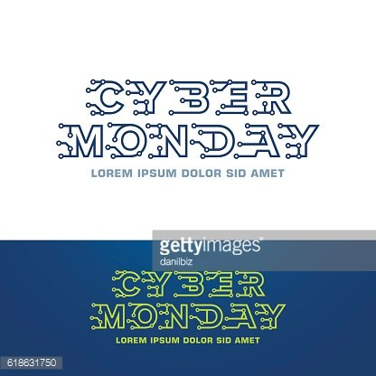 Cyber monday emblem design template with technology letters