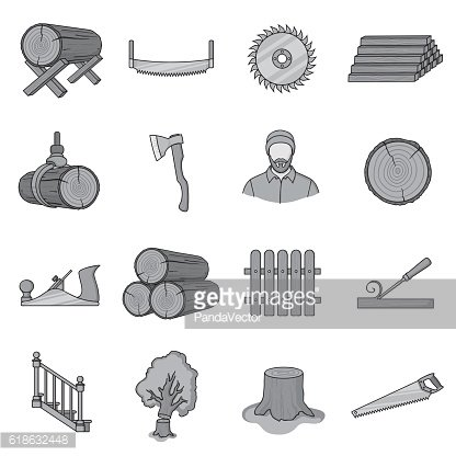 Sawmil and timber set icons in monochrome style. Big collection