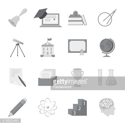 School set icons in monochrome style. Big collection of school