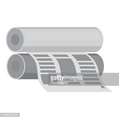 Newspaper printing machine in monochrome style isolated on white background.