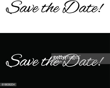 Save the date banner on a black and white background