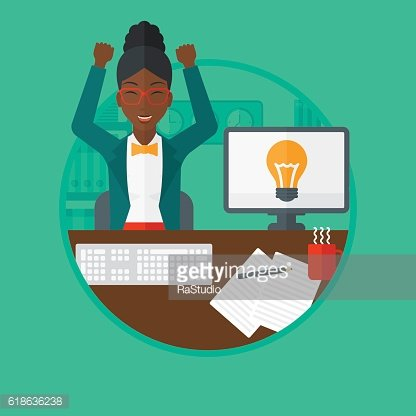 Creative excited woman having business idea.