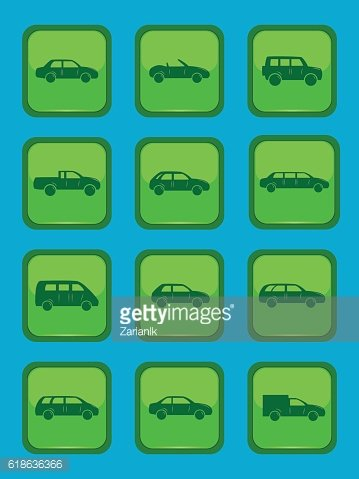 Car icons set on a green button