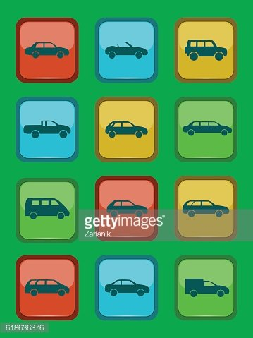 Car icons set on a colored button