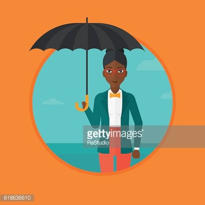 Business woman with umbrella vector illustration.