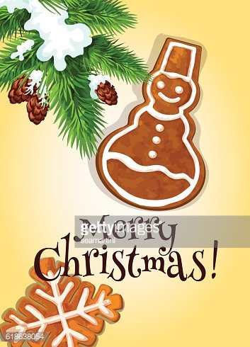 Christmas gingerbread cookie for postcard design