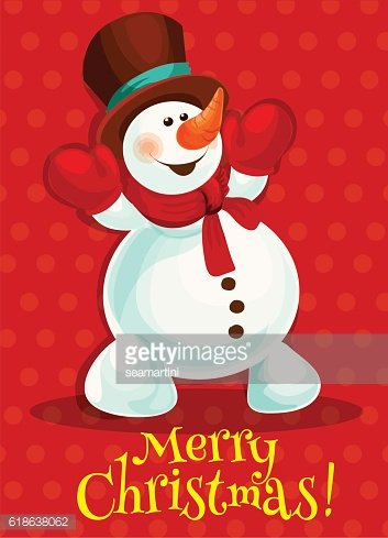 Christmas snowman for greeting card design