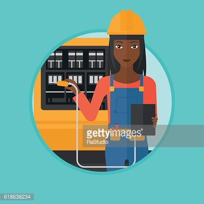 Electrician with electrical equipment.