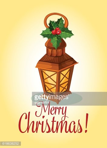 Christmas lantern and red holly berry card design