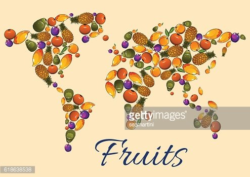 Fruits icons in world map
