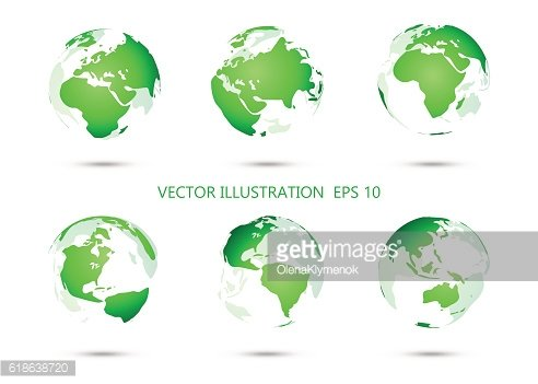 Set of vector globe icons showing earth with all continents.