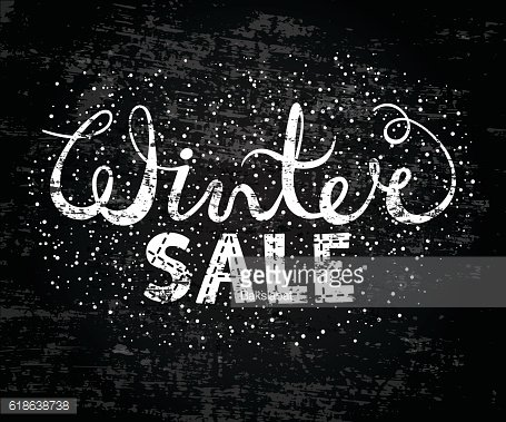 Winter sale text lettering. Seasonal shopping concept to design banners