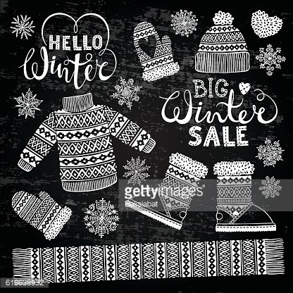 Set drawings knitted woolen clothing and footwear. Sweater, hat, mitten