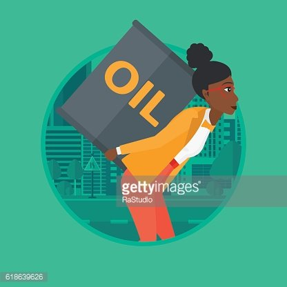 Woman with oil can vector illustration.