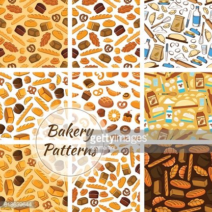 Bakery patterns set. Bread and baking kitchenware