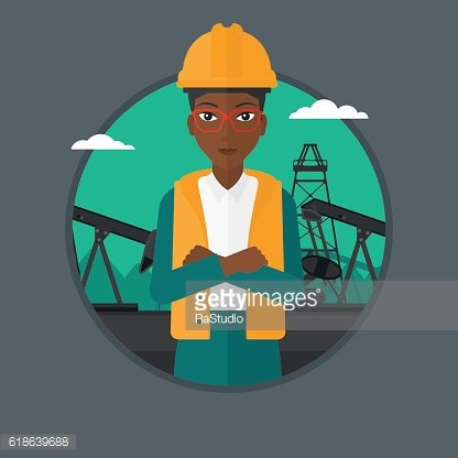 Cnfident oil worker vector illustration.