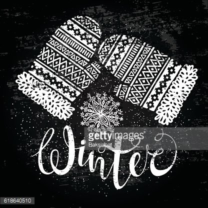 Winter text and knitted woolen mittens with snowflakes. Seasonal shopping