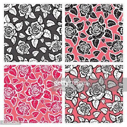 Colored Seamless Pattern of Roses.