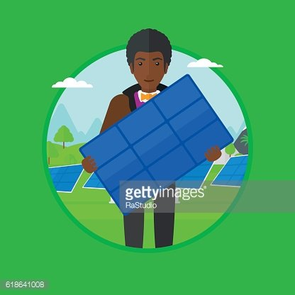 Man holding solar panel vector illustration.