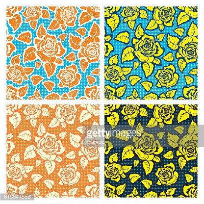 Set of Seamless Vector Background of Roses.