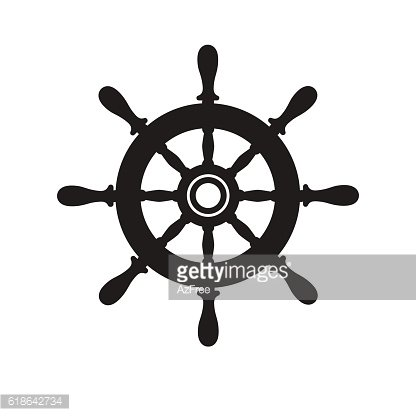Ship helm, wheel icon vector