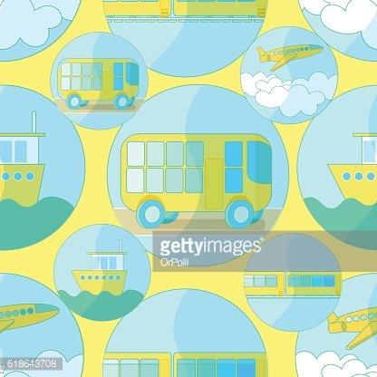 Seamless pattern with icons of transport bus, airplane, ship on