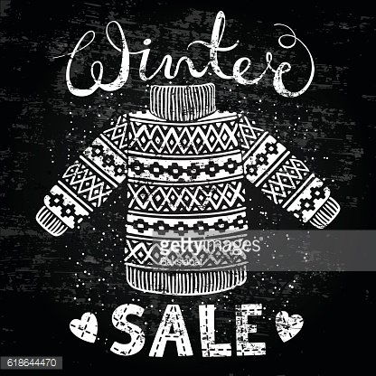 Winter Special banner, label with knitted woolen pullover or sweater