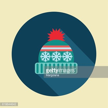 winter hat icon in flat