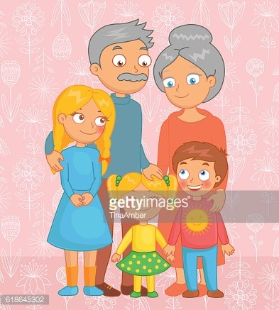 Cheerful grandparents, grandson and granddaughters posing together