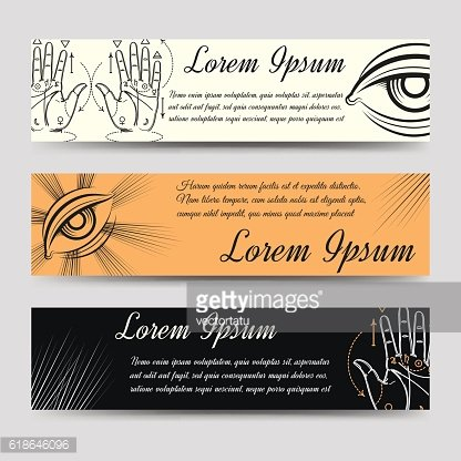 Isoteric banners set with alchemy elements