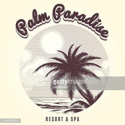 Palm tree and ocean sketch logo