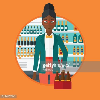 Woman with pack of beer at supermarket.