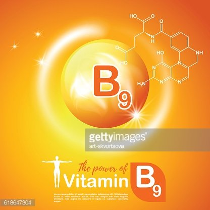 Nutrition sign concept. The power of vitamin B9. Сhemical formula