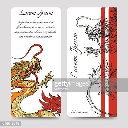 Brochure flyers template with chinese dragon