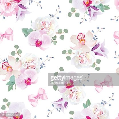 Elegant seamless vector print in purple, pink tones with bows