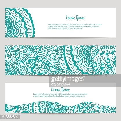 Set of three horizontal banners in ethnic style