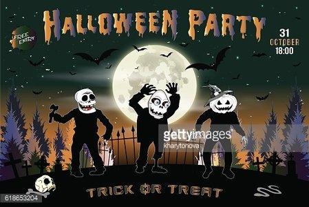 Halloween party, the three zombies, background dark green.