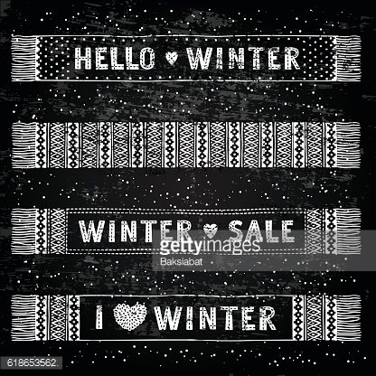 Winter Special banner or label with knitted woolen scarves. Business