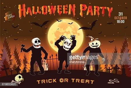 Halloween party, the three zombies, background brown.