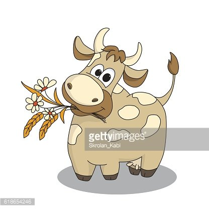 Cute cow with flowers.
