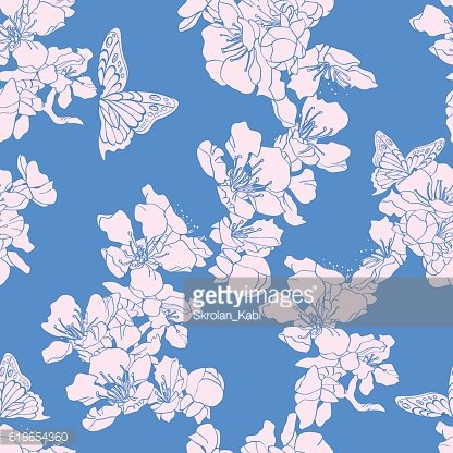 Seamless background with butterflies and blossom apricot on blue
