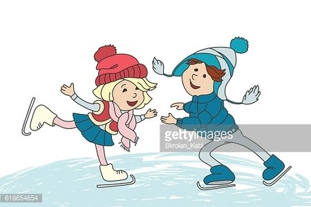 Boy and girl skating on ice